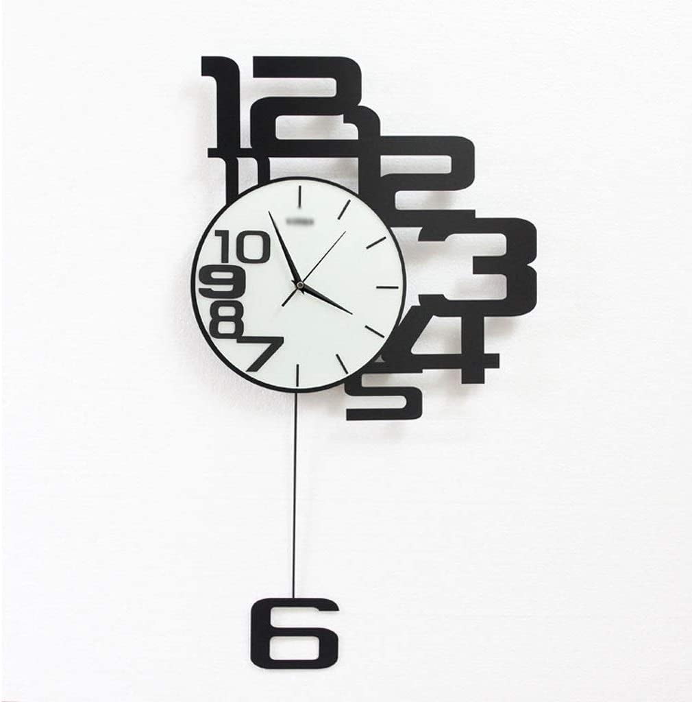 Relojes de Pared Minimalista Moderno Dormitorio Reloj Reloj 3 Clases de tamaño Sala de Estar Hogar Reloj electrónico Reloj de Pared Negro (Color : Black, tamaño : 80 * 46cm)