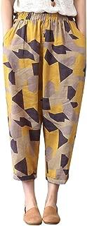 Nine Pants Casual Pants Women Cotton Linen Printed Geometric Patterns Loose