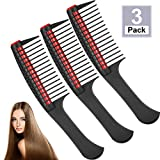 3 Packs Hair Comb, Comb with Roller, Detangling Comb with Roller Integrated Roller Hair Comb, Anti Splicing Comb for Salon Barber Hair Dye (Red)