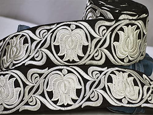 9 yardas al por mayor marfil Lotus tela Trim para Dupatta bordado vestido de novia cinta india nupcial sari encaje artesanía costura decoración cortinas ropa ropa accesorios frontera