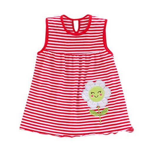 Tefamore en Bas âge Mignon bébé Fleur de Coton Enfants Dot rayé T-Shirts Robe T-Shirt Gilet