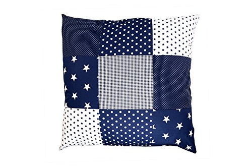 Funda patchwork para cojín de ULLENBOOM ® con estrellas azules (funda para cojín de 60x60 cm; 100% algodón; ideal como cojín decorativo o de adorno para la habitación de los niños)