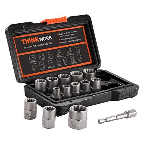 THINKWORK Steckschlüsselsatz , 13+1 teiliges Werkzeug zum Entfernen der Mutter, abisolierter Radmutternentferner, leicht zu entfernende rostige und hartnäckige Steckdosen und Schrauben