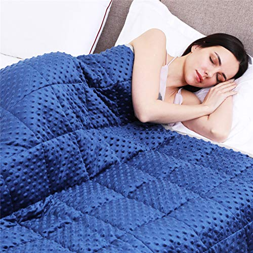 KPBLIS Weighted Blanket 5 lbs 36' x 48' for 30-70 lbs, 7 Layers Heavy Blanket with Soft and Breathable Fabric for All-Seasons, Navy/Grey