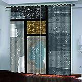 QCTTBD Cortinas De Opacas - 264X 180 Cm - Pintura De Arte Abstracto - para Sala Cuarto Comedor Salon Cocina Habitación - 3D...