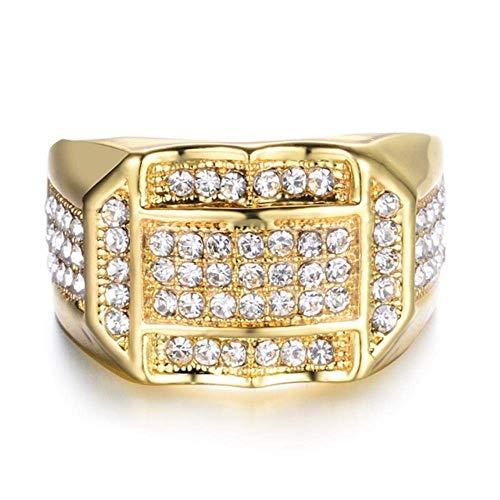 Europese en Amerikaanse Mode Sieraden-Heren Ring, Feest Bruiloft Geschenken Luxe Vierkant Wit 18 Kt, Thumby 10 Goud Wit