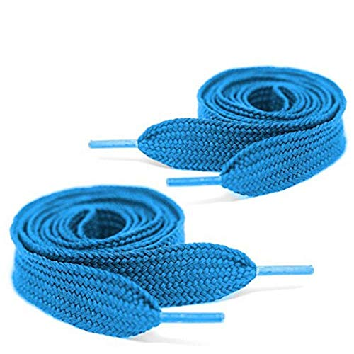 Mercury + Maia Extra Wide Shoe Laces - Flat Athletic Fat Shoelaces - Stay Tied - Made in the USA (54, Neon Blue)
