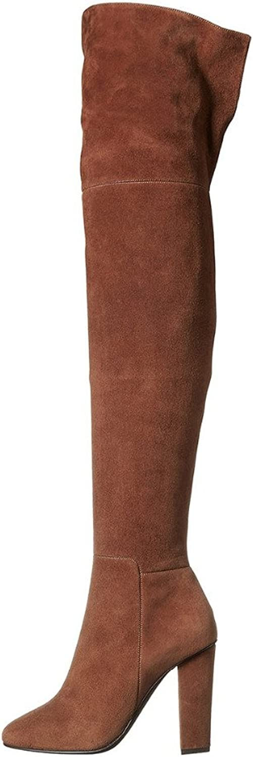 AIWEIYi Womens Thigh High Boots Over The Knee Party Stretch Block Mid Heel Long Boots Brown