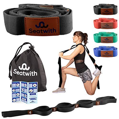 Gymnastik-Gurt mit 10 Schlaufen | Yoga-Gurt 200 x 4 cm | Stretch-Strap für mehr Beweglichkeit | + Transportbeutel & Trainingsanleitung PDF| Fitness Pilates Physiotherapie Stretch-Gurt(SCHWARZ)