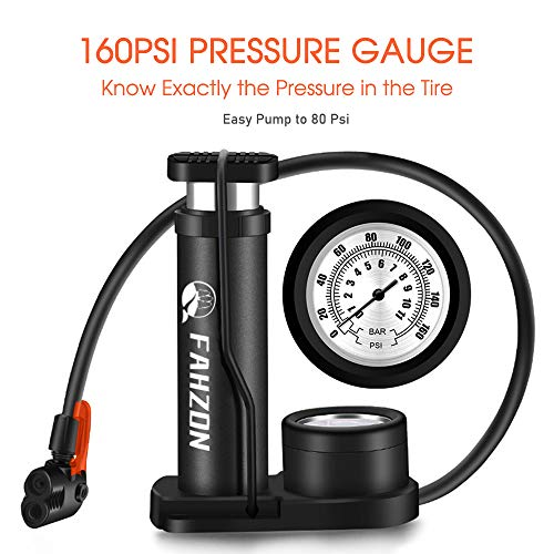 FAHZON Bike Pump Mini Portable Bicycle Foot Pump with Pressure Gauge Bike Tire Air Pump with Gas Ball Needle for All Bike,Fits Presta & Schrader Valve