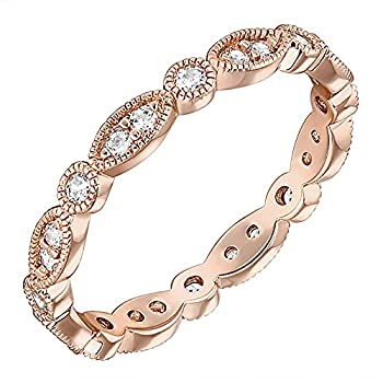 PAVOI 14K Rose Gold Plated Rings Cubic Zirconia Band | Round Milgrain Eternity Bands | Rose Gold Rings for Women Size 6