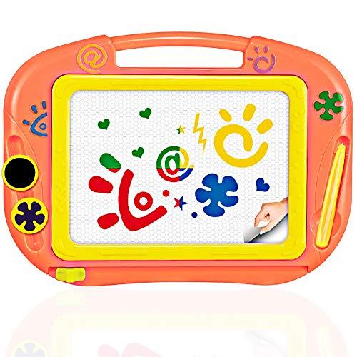 TTMOW Zaubertafel Kinder Maltafel mit Magnetische Stempel, Verdicktes Lerntafel Reißbrett Kindergeschenk für Kinder ab 2 ab 3 (Orange)