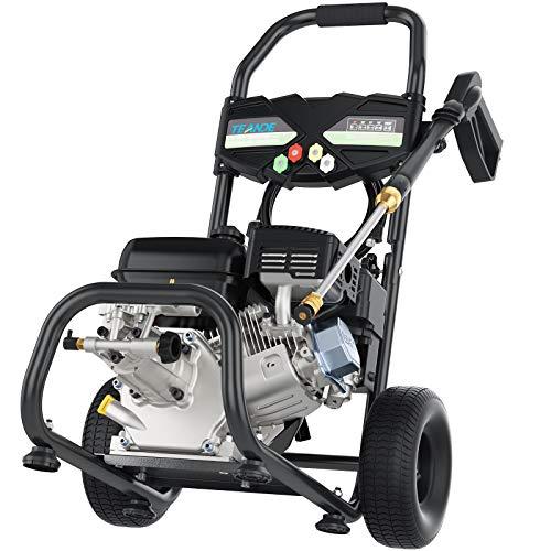 TEANDE Gas Pressure Washer 4200PSI 212CC Pressure Washer 2.8GPM Gasline Power Washer, 5 Adjustable Nozzles,1Gallon Flue Tank (Black)