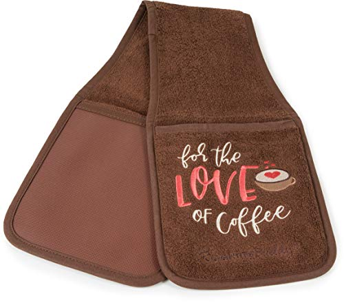 Campanelli's Cooking Buddy Pot Holder - Professional Grade All-In-One Non-Slip Silicone Potholder, Hand Towel, Lid Grip, and Trivet - Heat Resistant up to 500ºF - As Seen On QVC (Coffee)