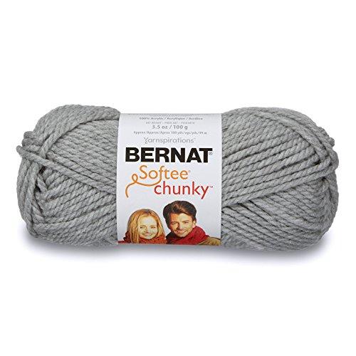Bernat Softee Chunky Yarn, 3.5 Oz, Gauge 6 Super Bulky, Grey Heather