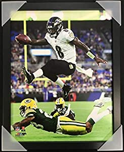 "Lamar Jackson Baltimore Ravens NFL Action Photo (Size: 12"" x 15"") Framed"