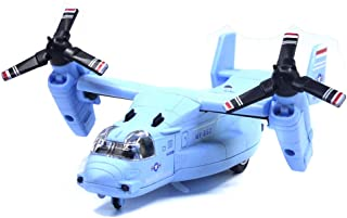 Ailejia Alloy Metal Airplane MV-22 Military Toy Model Aircraft Pull Back Transport Plane Model with Lights and Sound (Blue)