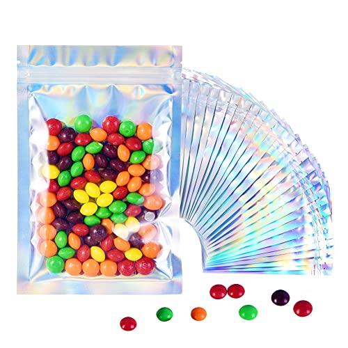 BaoWnylz Mylar Bag, 100Pcs Sacchetti Richiudibili Alimenti Buste Olografiche(12*20cm), Con Zip Smell Proof Bag, Può Essere Utilizzato Per la Conservazione Degli Alimenti e Smistamento Dei Dioielli