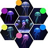 Tacohan 6 Piezas de Decoraciones de Acuario de Medusas Artificiales, Medusas Artificiales de Silicona de Grado Alimenticio Medusas Luminosas Artificiales para la Decoración de Peceras y Acuarios