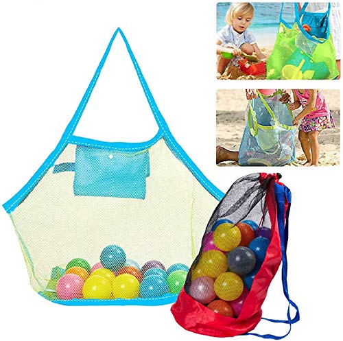 Tacobear Bolsa Grande de Malla para Juguetes de Playa Mochila de Plegable Mesh Beach Bag Bolsa de Almacenaje Organizer Bag para Juguete Niños (1 Bolsa&1 Mochila)