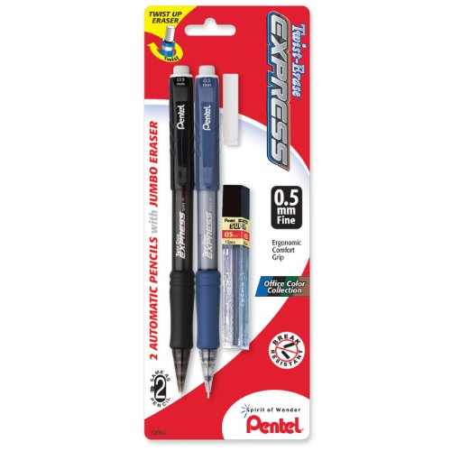 2 Pack, Pentel Twist-Erase Express Automatic Pencil with Lead and Eraser, 0.5mm, Assorted Barrels, $2.87 + Free Shipping w/ Prime