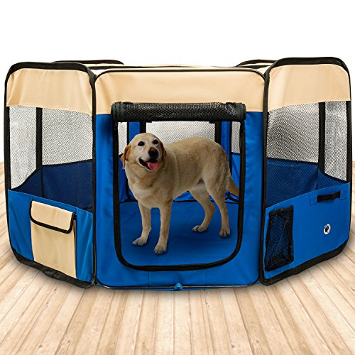 BIGWING Style Puppy Playpen,Portable Foldable Puppy Dog Pet Cat Rabbit Guinea Pig Fabric Playpen Crate Cage Kennel Tent (49 x 49 x 23, Blauw)