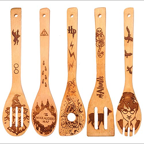 Wooden Spoons, Wooden Spoons for Cooking with 3D Embossing and Engraved Patterns, Great Kitchen Gifts for Mother's Day, Halloween, Thanksgiving, Christmas(5 Pieces)