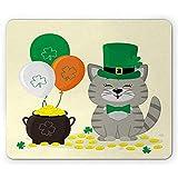 Mauspad / Mauspad mit Cartoon-Katzenballons und Münztopf, rechteckig, rutschfest