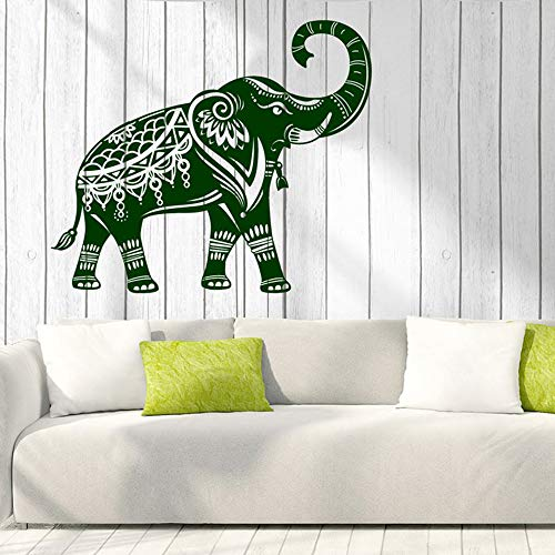 YuanMinglu Indischer Elefant Wand Vinyl Aufkleber Stämme verbessert Reichtum Logo Wohnkultur entfernbare Künstler Residenz dekorative Wanddekoration 63X73.5CM