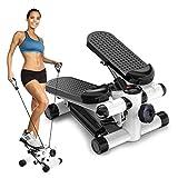 Mini Stepper De Fitness 2 in 1 Est Livré avec écran Multifonctions et Cordes Élastiques Poids Supporté Jusqu'à 110kg