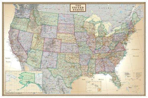 24x36 United States, USA US Executive Wall Map Poster Mural (24x36 Laminated)