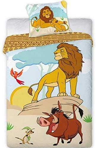 Unbekannt Bettwäsche Bettgarnitur Kinder Bett Set 2 TLG. Lion King 003, Simba Pumba Timon140x200 +Kissenbezug Beige Blau Gelb Braun Baumwolle Öko-Tex