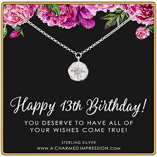 13th Birthday Gift for Girl • Sterling Silver • Sparkling CZ Diamond Starburst Necklace • Thirteen Years Old • Milestone Celebration Jewelry • Dainty Everyday Pendant • 16 Inch CHain