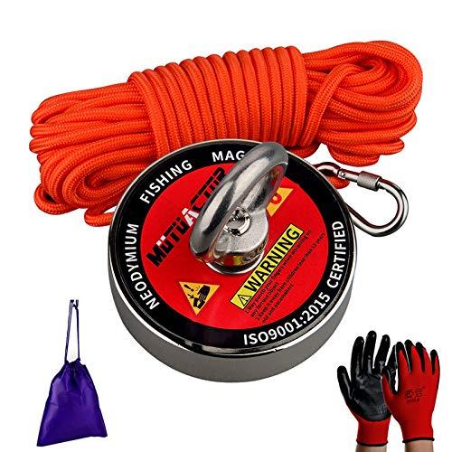 MUTUACTOR Imanes de pesca de 700 libras fuerte fuerza de tracción, imán de recuperación N52 imanes de neodimio con cuerda duradera, potentes imanes para pesca y recuperación magnética en el agua
