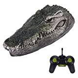 Crocodile Head RC Boat, 2.4G Remote Control Electric Racing Boat with Artificial Crocodile Head Spoof Toy Suitable for Swimming Pools, Ponds, Small Lakes, Gardens (Green)
