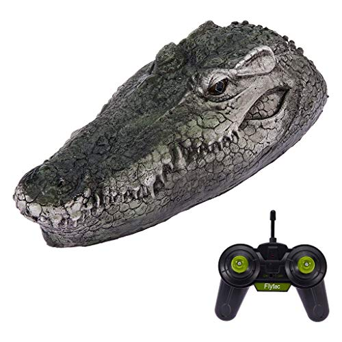 RC Boat for Adults, 2.4G Remote Control Electric Racing Boat for Pools with Simulation Crocodile Head Spoof Toy, Pool Pond Garden Patio Home Decoration, Animal Toys Party Gifts (Green)