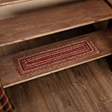 VHC Brands 45591 Burgundy Red Primitive Country Flooring Cider Mill Jute Stair Tread with Latex