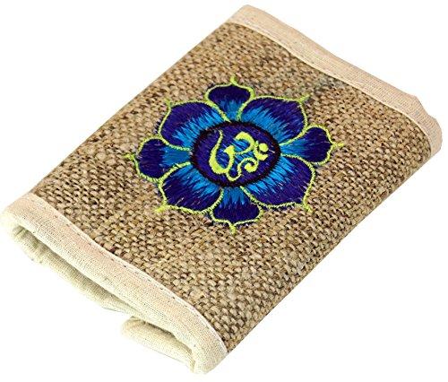 GURU SHOP Hanf Portemonnaie mit Stickerei, Herren/Damen, Lotus Blau, 9x11 cm, Portemonnaies aus Stoff