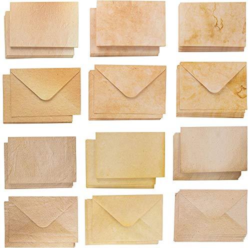 Paquete de 60 tarjetas de felicitación y sobres de estilo envejecido, tamaño postal, 6 diseños vintage antiguos, 10 x 15 cm