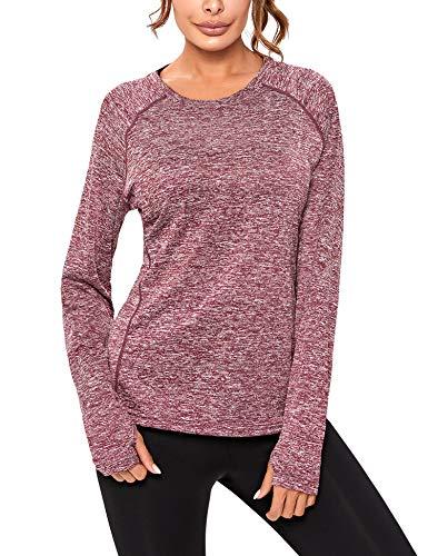 Sykooria Camiseta Deportiva Mujer de Manga Larga Sin Costuras Sudaderas Fitness Transpirable Suave Ropa Deportiva para Mujer-Vino tinto1-S