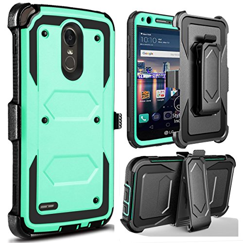 J.west Compatible with LG Stylo 3 /Stylo 3 Plus/Stylus 3 Phone Case, Heavy Duty Full-Body Rugged Holster Armor Case [Belt Clip][Kickstand] for Stylus 3 Plus/G Stylo 3/LS777 - Mint