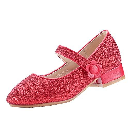 EIGHT KM EKM7018 Girls Mary Jane Low Heel Glitter Vestido Formal Bombas Zapatos Rojo Talla 26
