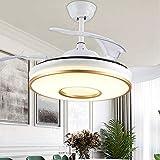 Qinmo Luces de ventilador de techo, lámpara de luz de la lámpara del ventilador Ventilador de techo techo de la conversión de frecuencia del ventilador de techo de 42 pulgadas simple Smart Home lámpar