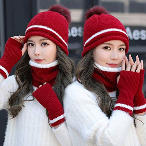 LJY hat Mütze Schal Handschuhe Set, weibliche Herbst und Winter Ohrenschützer Strickmütze Plus Samt dick warme koreanische Version der Wilden Wollmütze (Farbe : Red)