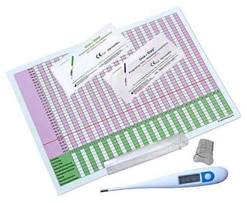 Termometro Basale Digitale (centigrado) + 40 Ovulazione e 10 Test Di Gravidanza + Fertilita Tabella