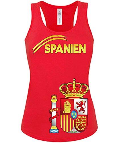 Spanien Espania Spain Fussball Fußball Trikot Look Jersey Fanshirt Damen Frauen Mädchen Tank Top T-Shirt Tanktop Fan Fanartikel Outfit Bekleidung Oberteil Artikel