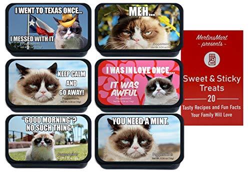 Grumpy Cat Meme Breath Mints   Christmas Candy Stocking Stuffer   (1) each: What's So Beautiful, Had Fun Once, Happy Face, South Dakota, Nope, Poker Face - Plus Recipe Booklet Bundle…