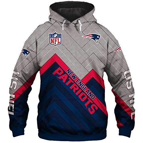 NFL Sudaderas con Capucha de fútbol Americano para Unisexo - Sudadera de Manga Larga con Logo de Jersey(New England Patriots 3XL)