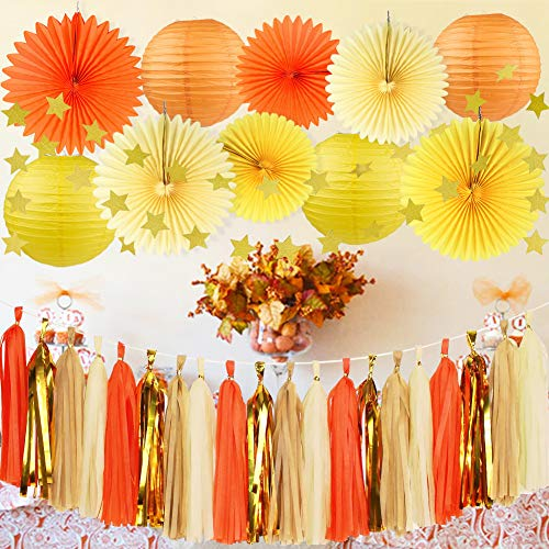 HappyField Fall Party Decorations Autumn Party Decorations Thanksgiving Party Decorations Orange Yellow Cream Paper Fans Paper Star Garland Tissue Tassel Garland for Fall Birthday Party Baby Shower