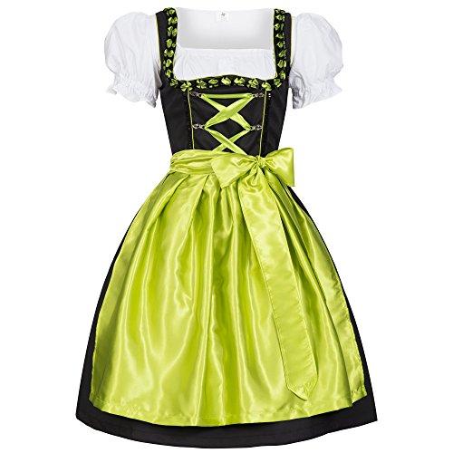 Gaudi Leathers, Dirndl Set 3 TLG. Iwona zwart met schort lichtgevend groen